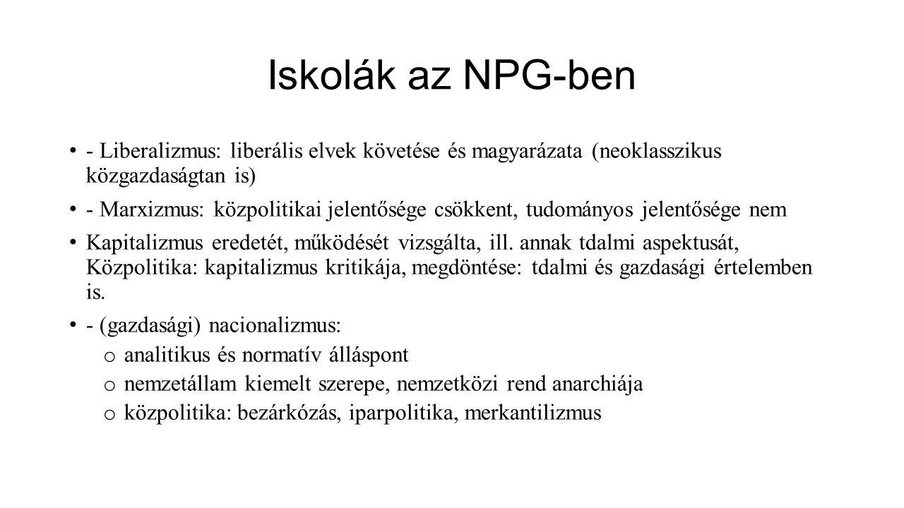 Iskolák az NPG-ben - Liberalizmus: liberális elvek követése és magyarázata (neoklasszikus közgazdaságtan is) - Marxizmus: közpolitikai jelentősége csö