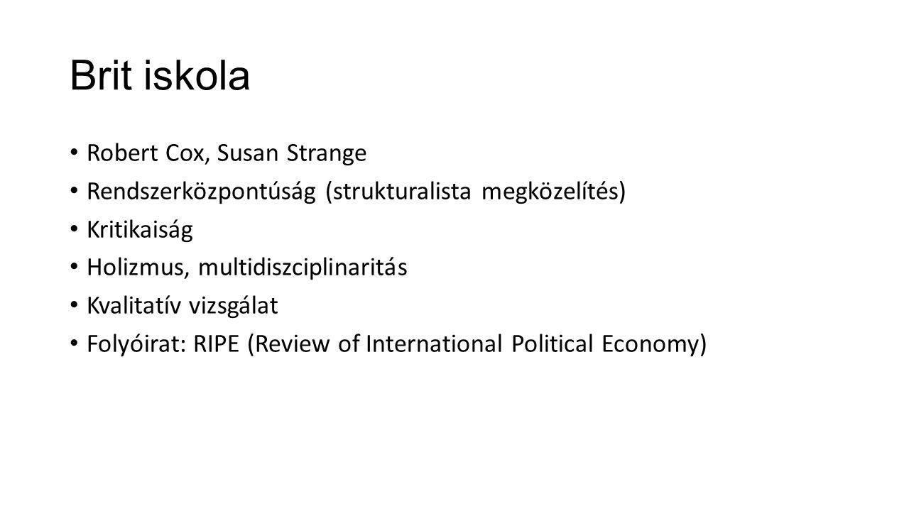 IskolákREALISTÁKPLURALISTÁK (LIBERÁLISOK) STRUKTURALISTÁK Főbb témákKonfliktus és az erő alkalmazása Konfliktus és együttműködés, befolyás és függés Dependencia Analitikai egységSzuverén nemzetállamok és a nk-i rendszer (anarchia állapota) Kormányok, érdekcsoportok (MNC, NGO), Nk-i szervezetek Osztályok (világrendszer szemlélet) KövetkeztetéseikInstabilitás és biztonság hiánya Államérdek Demokrácia, béke, prosperitás Instabilitás és imperializmus