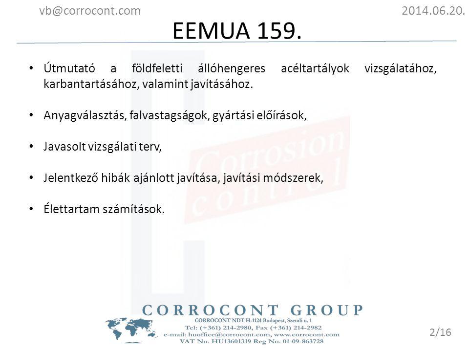 Vizsgálati gyakoriságok 2014.06.20.vb@corrocont.com 3/16 Forrás: EEMUA pub.159 3 rd edition, B13.