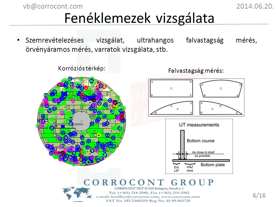 Fenéklemezek vizsgálata 2014.06.20.vb@corrocont.com 7/16 Várható élettartam folyadék terhelés szempontjából: Plate No.