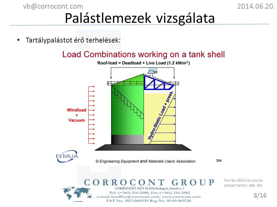 Palástlemezek vizsgálata 2014.06.20.vb@corrocont.com 9/16 Szemrevételezéses vizsgálat, ultrahangos falvastagság mérés, örvényáramos mérés, varratok vizsgálata, stb.