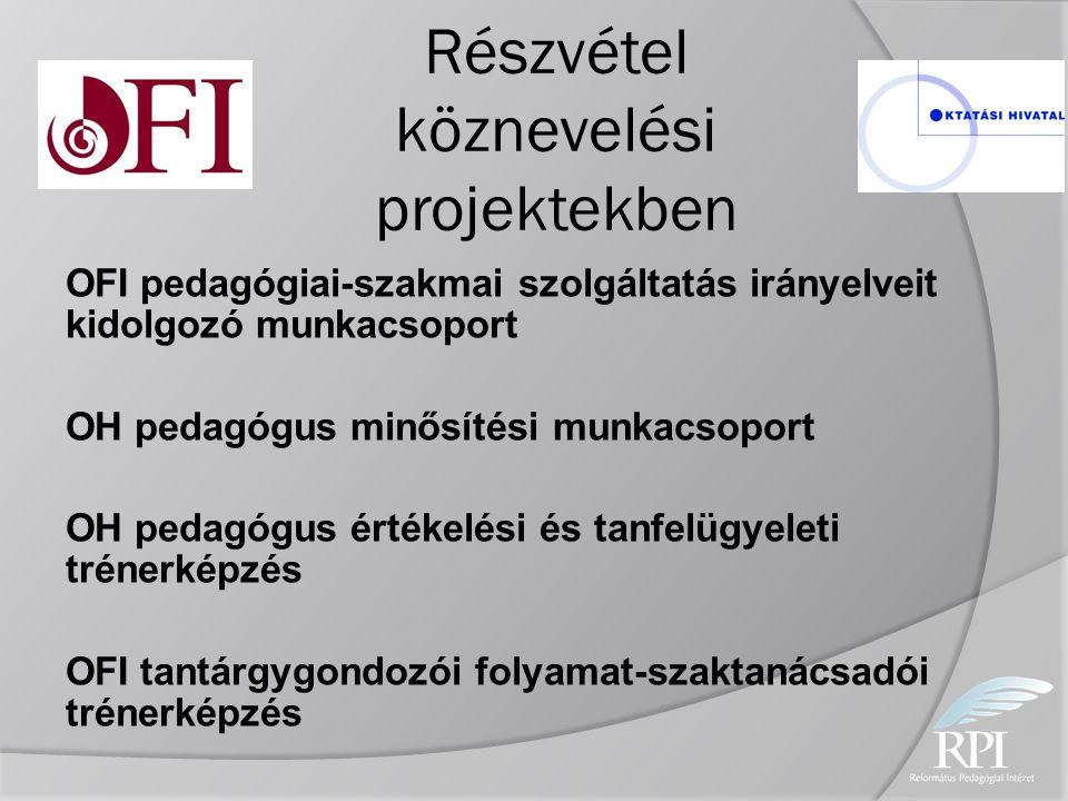 Részvétel köznevelési projektekben OFI pedagógiai-szakmai szolgáltatás irányelveit kidolgozó munkacsoport OH pedagógus minősítési munkacsoport OH peda