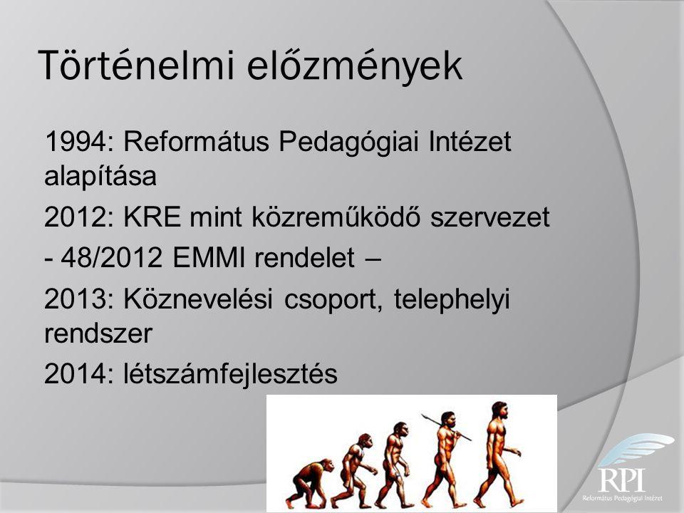 Történelmi előzmények 1994: Református Pedagógiai Intézet alapítása 2012: KRE mint közreműködő szervezet - 48/2012 EMMI rendelet – 2013: Köznevelési c