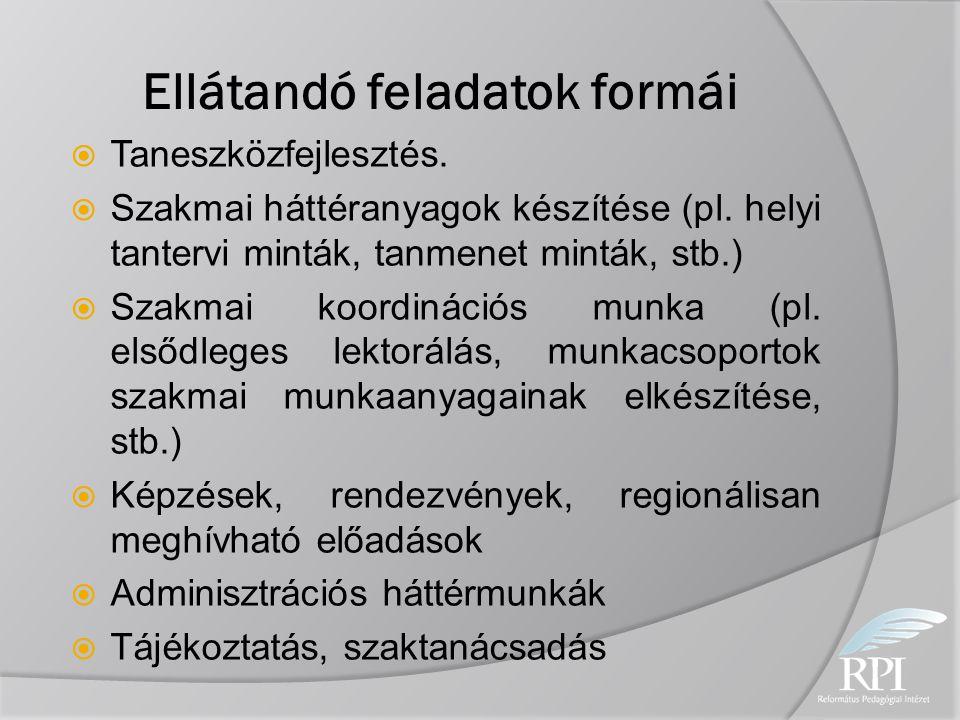 Ellátandó feladatok formái  Taneszközfejlesztés.  Szakmai háttéranyagok készítése (pl. helyi tantervi minták, tanmenet minták, stb.)  Szakmai koord