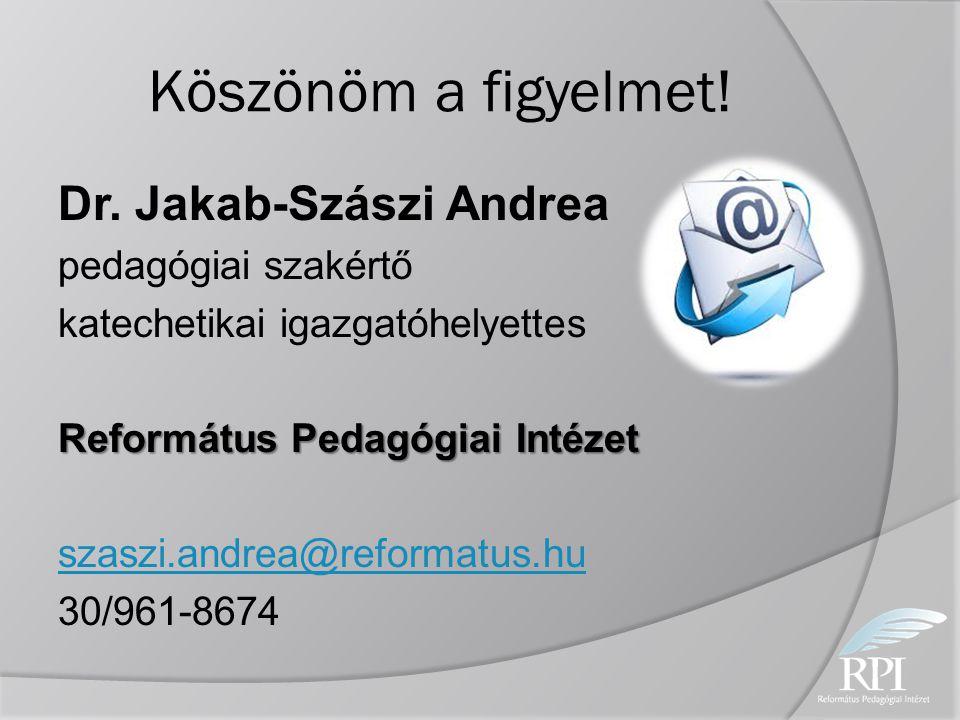 Köszönöm a figyelmet! Dr. Jakab-Szászi Andrea pedagógiai szakértő katechetikai igazgatóhelyettes Református Pedagógiai Intézet szaszi.andrea@reformatu