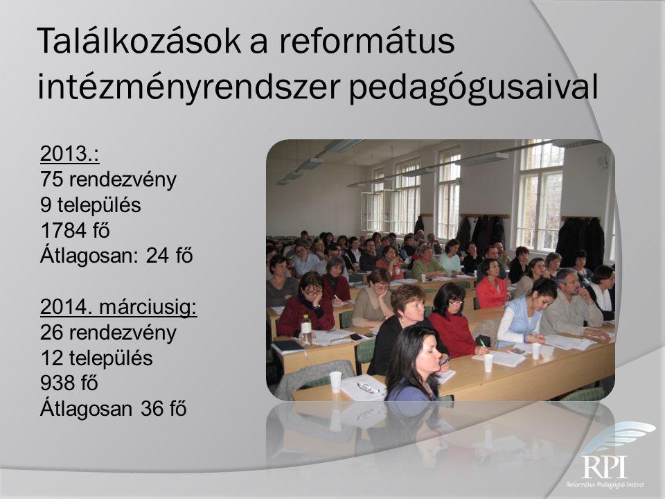 Találkozások a református intézményrendszer pedagógusaival 2013.: 75 rendezvény 9 település 1784 fő Átlagosan: 24 fő 2014. márciusig: 26 rendezvény 12