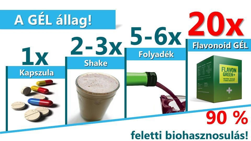 Kapszula Shake Folyadék Flavonoid GÉL A GÉL állag! A GÉL állag! 1x 2-3x 5-6x 20x 90 % feletti biohasznosulás!