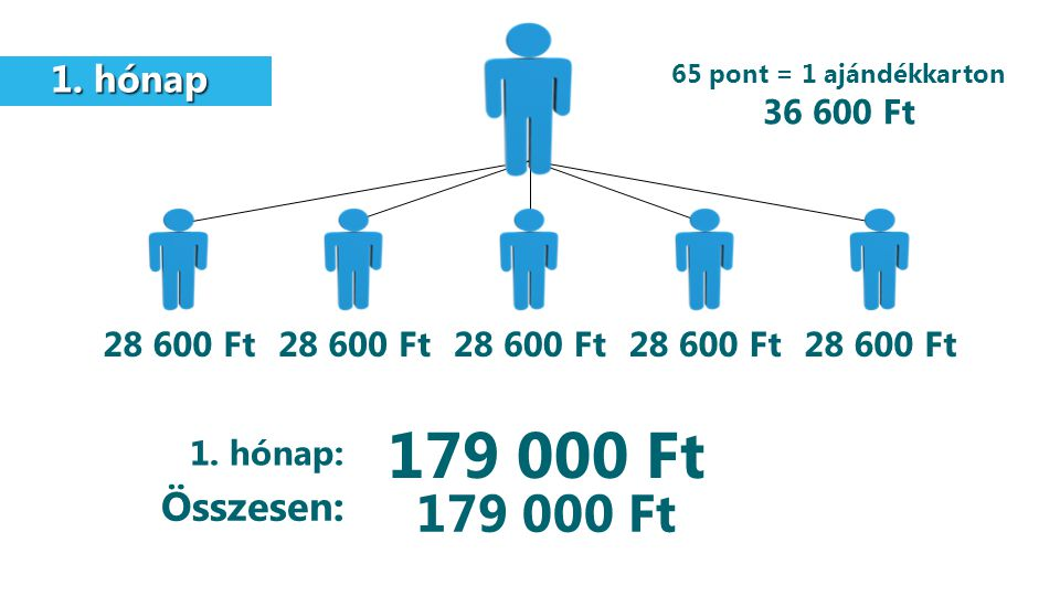 1. hónap 1. hónap 28 600 Ft 179 000 Ft 1. hónap: Összesen: 65 pont = 1 ajándékkarton 36 600 Ft 179 000 Ft
