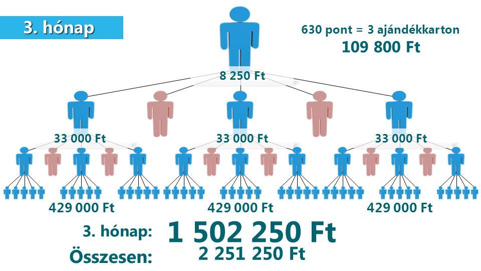 3. hónap 3. hónap 429 000 Ft 1 502 250 Ft 3. hónap: Összesen: 8 250 Ft 33 000 Ft 630 pont = 3 ajándékkarton 109 800 Ft 2 251 250 Ft