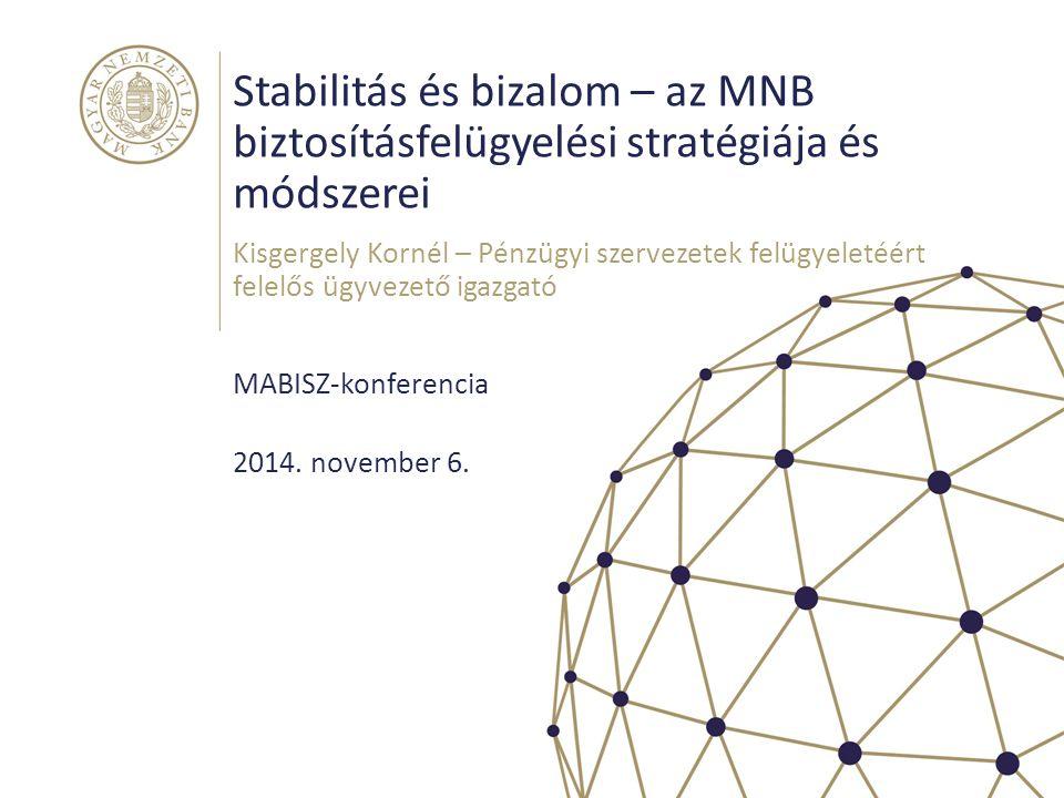 Stabilitás és bizalom – az MNB biztosításfelügyelési stratégiája és módszerei MABISZ-konferencia Kisgergely Kornél – Pénzügyi szervezetek felügyeletéé