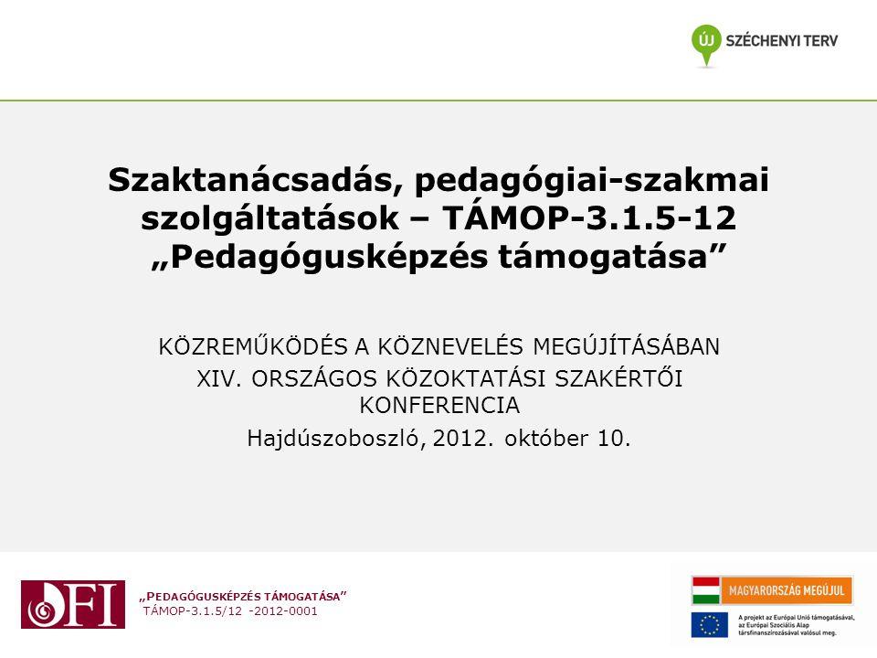 """""""P EDAGÓGUSKÉPZÉS TÁMOGATÁSA TÁMOP-3.1.5/12 -2012-0001 Szaktanácsadás, pedagógiai-szakmai szolgáltatások – TÁMOP-3.1.5-12 """"Pedagógusképzés támogatása KÖZREMŰKÖDÉS A KÖZNEVELÉS MEGÚJÍTÁSÁBAN XIV."""