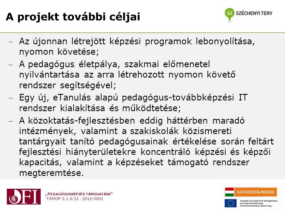 """""""P EDAGÓGUSKÉPZÉS TÁMOGATÁSA TÁMOP-3.1.5/12 -2012-0001 A projekt további céljai Az újonnan létrejött képzési programok lebonyolítása, nyomon követése; A pedagógus életpálya, szakmai előmenetel nyilvántartása az arra létrehozott nyomon követő rendszer segítségével; Egy új, eTanulás alapú pedagógus-továbbképzési IT rendszer kialakítása és működtetése; A közoktatás-fejlesztésben eddig háttérben maradó intézmények, valamint a szakiskolák közismereti tantárgyait tanító pedagógusainak értékelése során feltárt fejlesztési hiányterületekre koncentráló képzési és képzői kapacitás, valamint a képzéseket támogató rendszer megteremtése."""