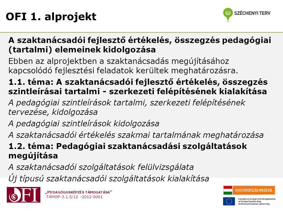 """""""P EDAGÓGUSKÉPZÉS TÁMOGATÁSA TÁMOP-3.1.5/12 -2012-0001 OFI 1."""