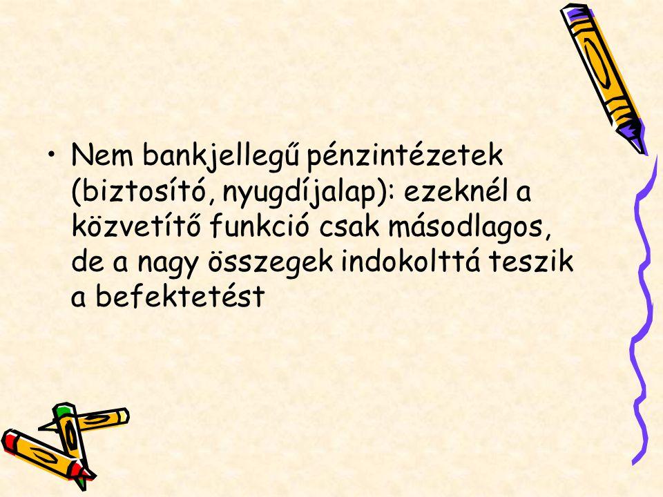 Nem bankjellegű pénzintézetek (biztosító, nyugdíjalap): ezeknél a közvetítő funkció csak másodlagos, de a nagy összegek indokolttá teszik a befektetés