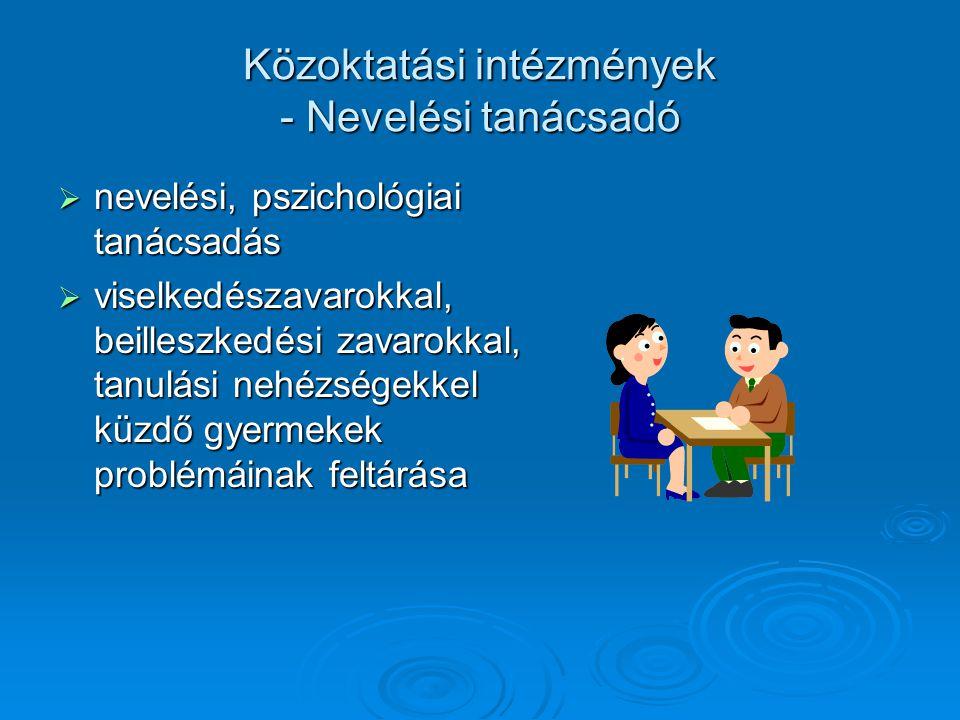 Közoktatási intézmények - Nevelési tanácsadó  nevelési, pszichológiai tanácsadás  viselkedészavarokkal, beilleszkedési zavarokkal, tanulási nehézség