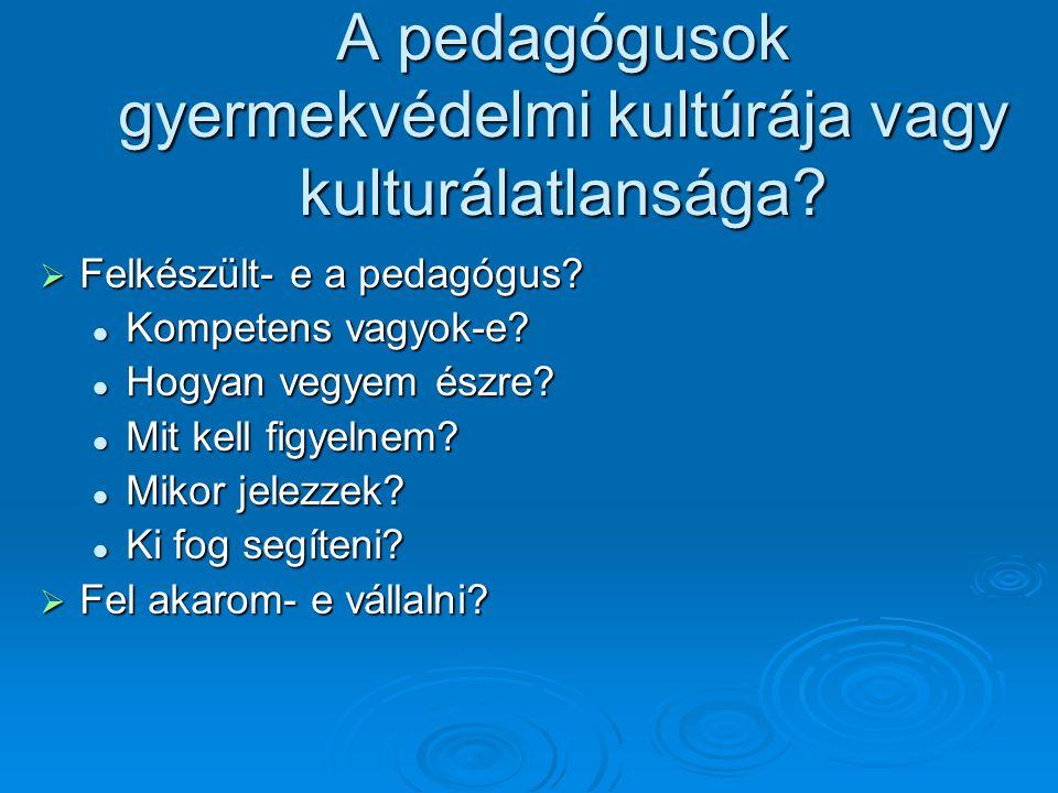 A pedagógusok gyermekvédelmi kultúrája vagy kulturálatlansága?  Felkészült- e a pedagógus? Kompetens vagyok-e? Kompetens vagyok-e? Hogyan vegyem észr
