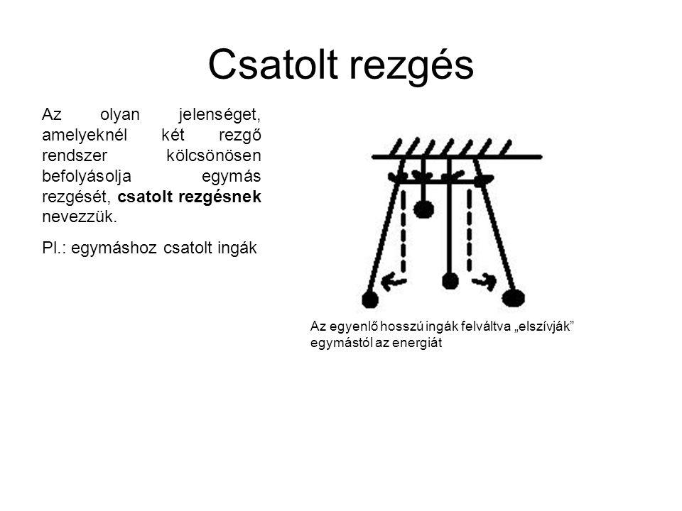 Csatolt rezgés Az olyan jelenséget, amelyeknél két rezgő rendszer kölcsönösen befolyásolja egymás rezgését, csatolt rezgésnek nevezzük. Pl.: egymáshoz