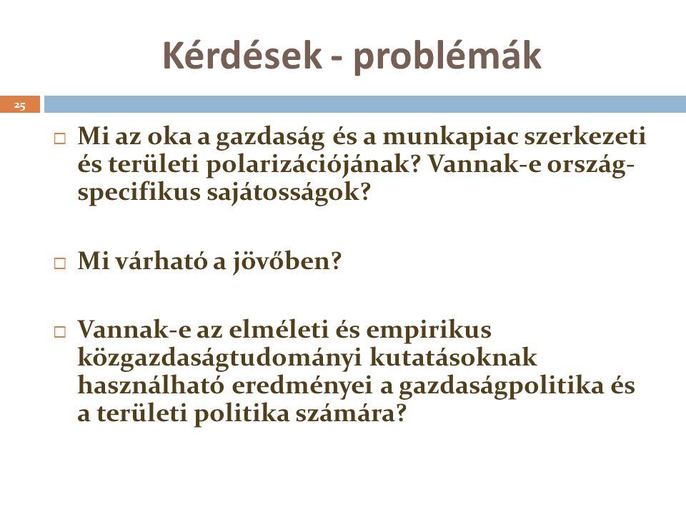 Kérdések - problémák 25  Mi az oka a gazdaság és a munkapiac szerkezeti és területi polarizációjának.