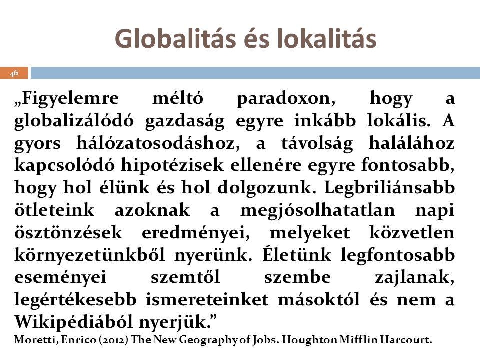 """Globalitás és lokalitás """"Figyelemre méltó paradoxon, hogy a globalizálódó gazdaság egyre inkább lokális."""