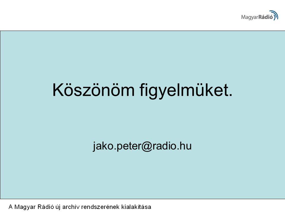 Köszönöm figyelmüket. jako.peter@radio.hu
