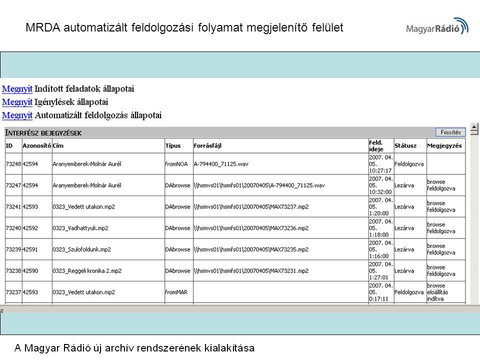 MRDA automatizált feldolgozási folyamat megjelenítő felület