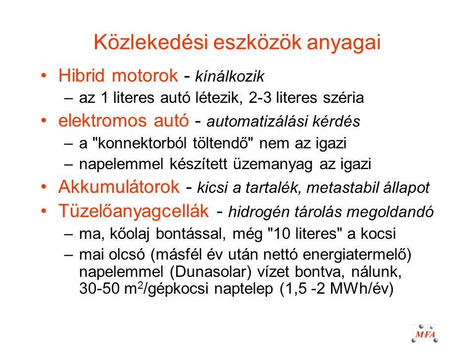 Közlekedési eszközök anyagai Hibrid motorok - kínálkozik –az 1 literes autó létezik, 2-3 literes széria elektromos autó - automatizálási kérdés –a