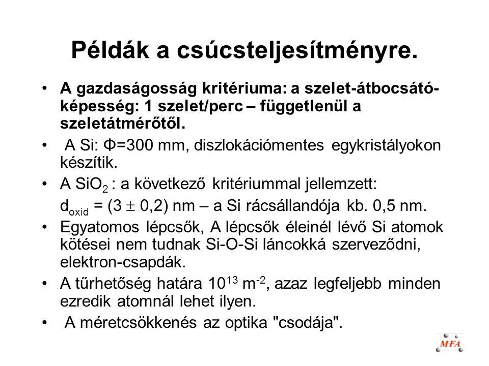 Példák a csúcsteljesítményre. A gazdaságosság kritériuma: a szelet-átbocsátó- képesség: 1 szelet/perc – függetlenül a szeletátmérőtől. A Si: Φ=300 mm,