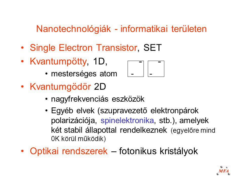 Nanotechnológiák - informatikai területen Single Electron Transistor, SET Kvantumpötty, 1D, - - mesterséges atom - - Kvantumgödör 2D nagyfrekvenciás e