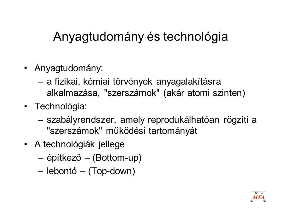 Anyagtudomány és technológia Anyagtudomány: –a fizikai, kémiai törvények anyagalakításra alkalmazása,