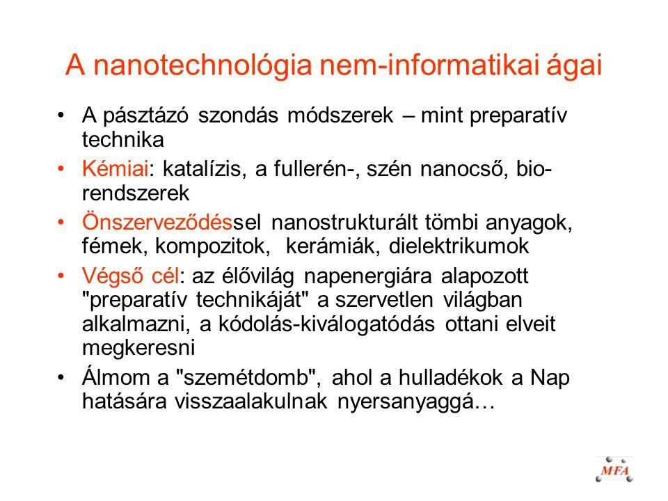 A nanotechnológia nem-informatikai ágai A pásztázó szondás módszerek – mint preparatív technika Kémiai: katalízis, a fullerén-, szén nanocső, bio- ren