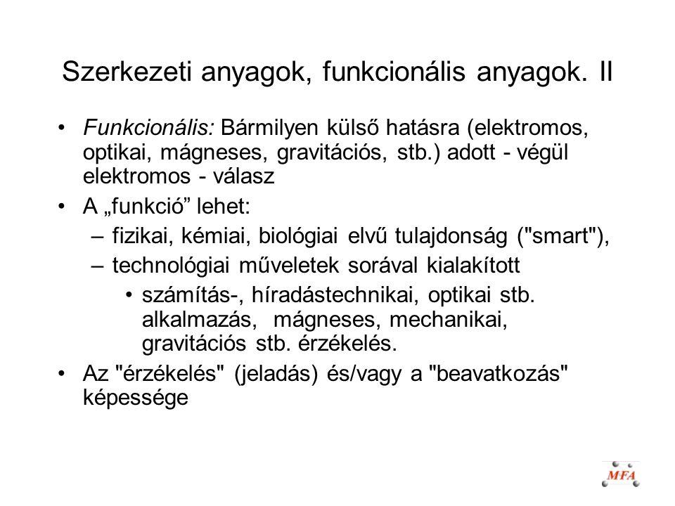 Szerkezeti anyagok, funkcionális anyagok. II Funkcionális: Bármilyen külső hatásra (elektromos, optikai, mágneses, gravitációs, stb.) adott - végül el
