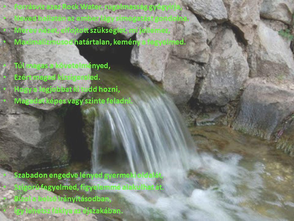 Forrásvíz azaz Rock Water, rugalmasság gyógyírja, Neved hallatán az ember lágy simogatást gondolna. Merev nézet, elfojtott szükséglet, mi jellemez, Ma
