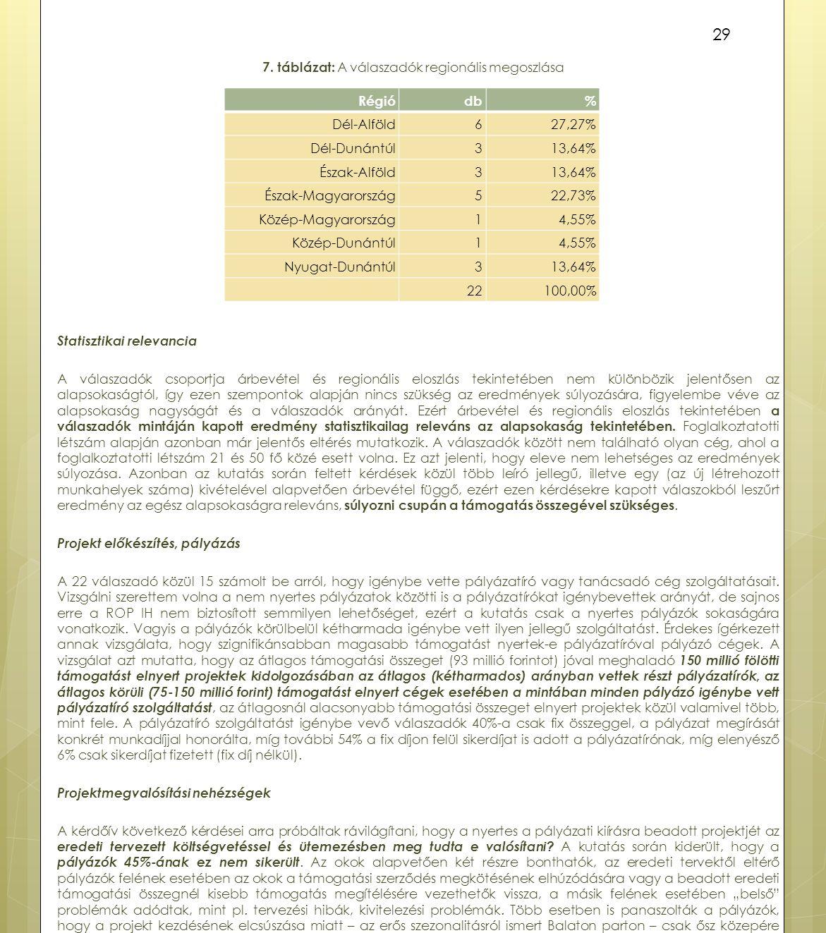 29 7. táblázat: A válaszadók regionális megoszlása Statisztikai relevancia A válaszadók csoportja árbevétel és regionális eloszlás tekintetében nem kü