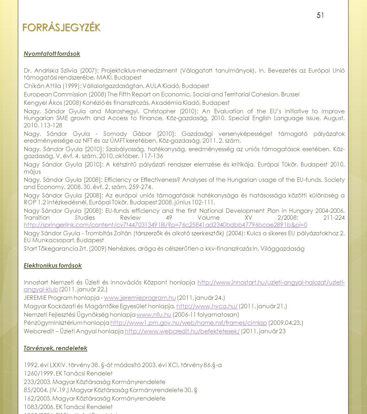 FORRÁSJEGYZÉK Nyomtatott források Dr. Andriska Szilvia (2007): Projektciklus-menedzsment (Válogatott tanulmányok). In. Bevezetés az Európai Unió támog