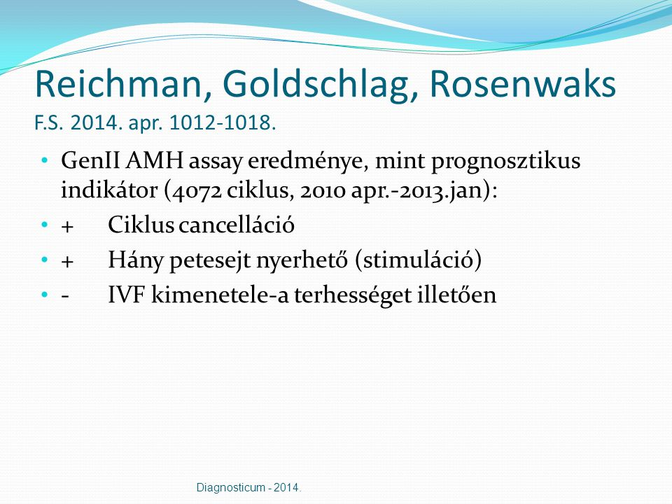 Reichman, Goldschlag, Rosenwaks F.S. 2014. apr. 1012-1018. GenII AMH assay eredménye, mint prognosztikus indikátor (4072 ciklus, 2010 apr.-2013.jan):