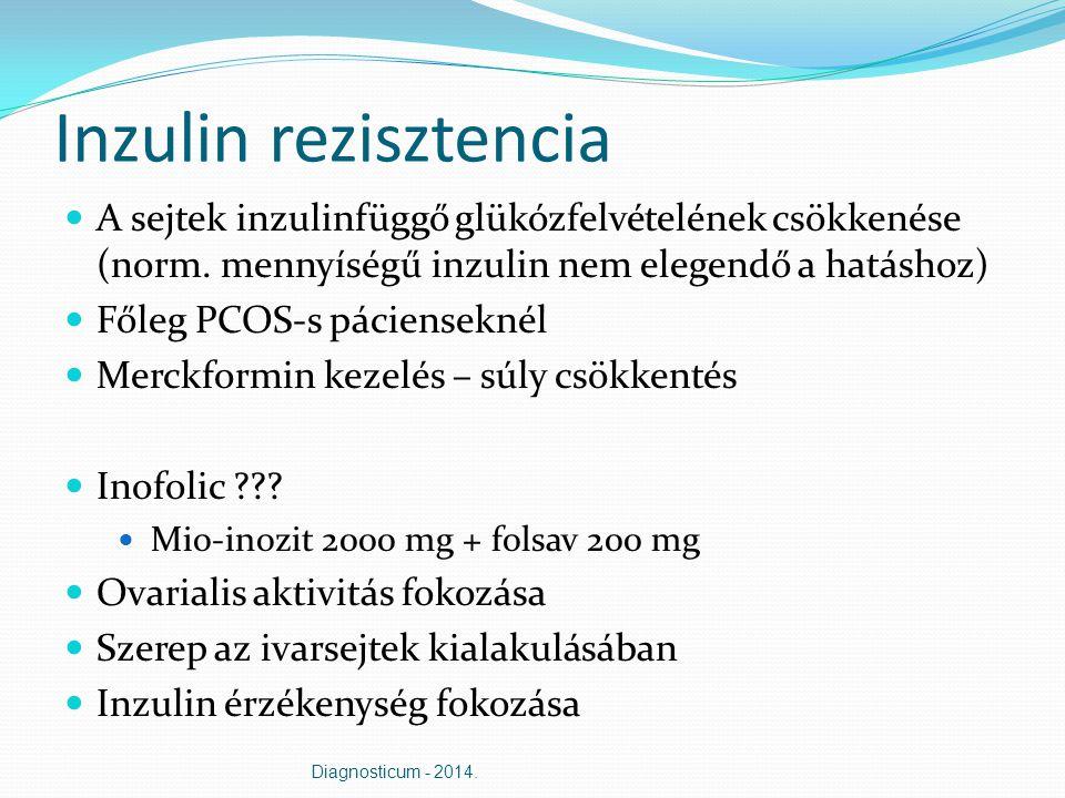 Inzulin rezisztencia A sejtek inzulinfüggő glükózfelvételének csökkenése (norm. mennyíségű inzulin nem elegendő a hatáshoz) Főleg PCOS-s pácienseknél