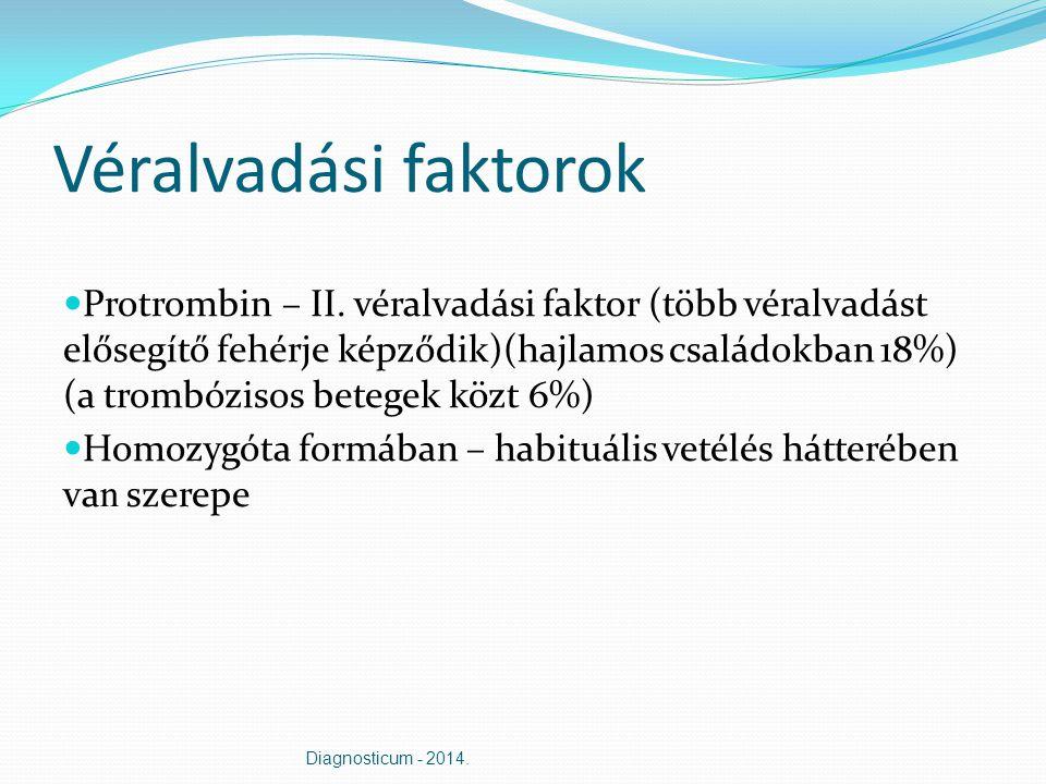 Véralvadási faktorok Protrombin – II. véralvadási faktor (több véralvadást elősegítő fehérje képződik)(hajlamos családokban 18%) (a trombózisos betege