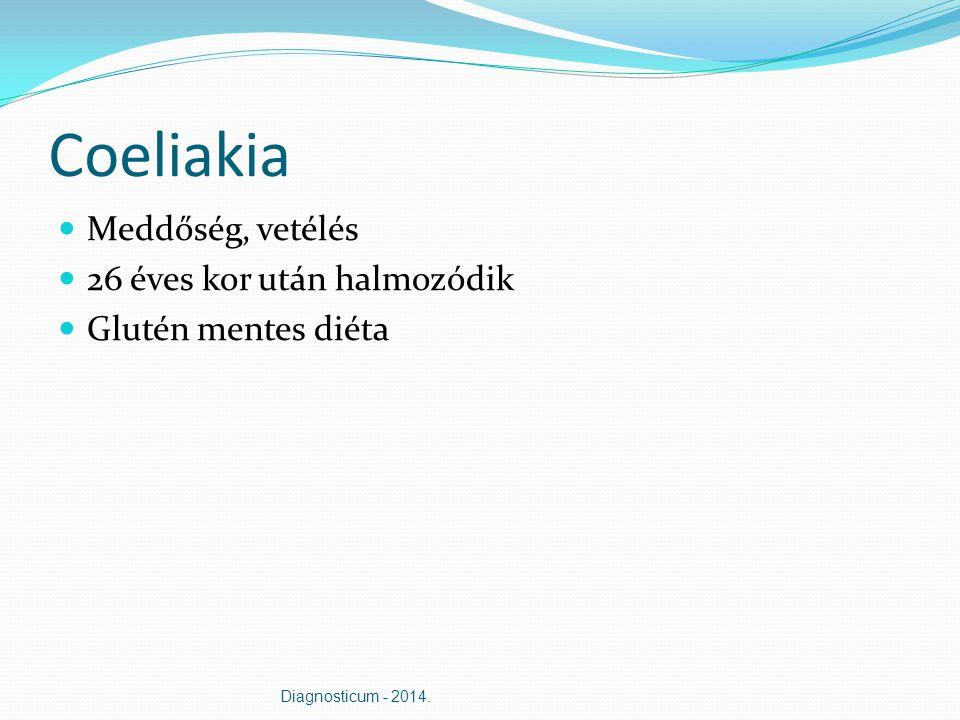 Coeliakia Meddőség, vetélés 26 éves kor után halmozódik Glutén mentes diéta Diagnosticum - 2014.