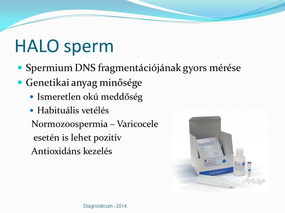 HALO sperm Spermium DNS fragmentációjának gyors mérése Genetikai anyag minősége Ismeretlen okú meddőség Habituális vetélés Normozoospermia – Varicocel