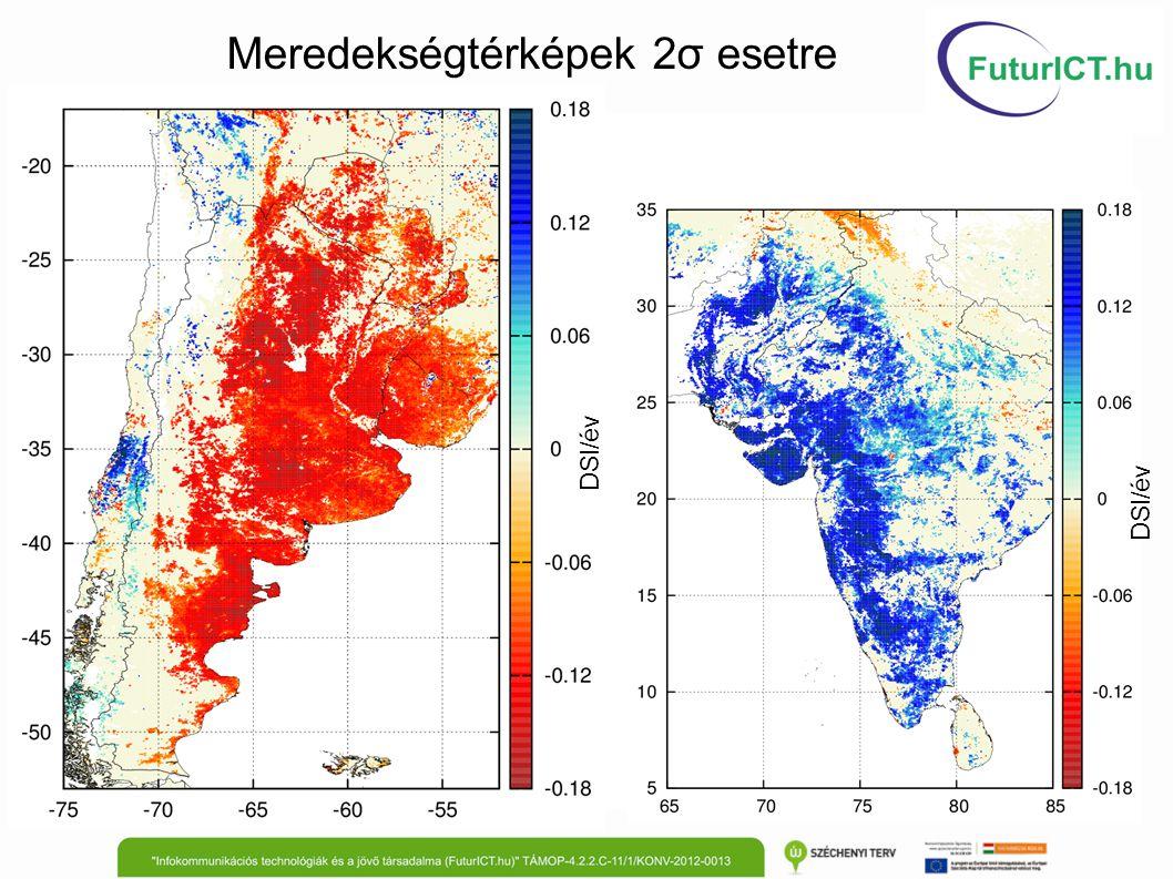 Meredekségtérképek 2σ esetre DSI/év
