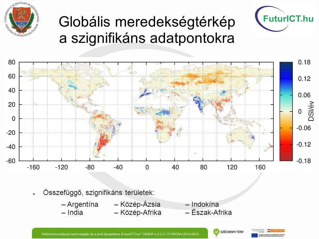 Globális meredekségtérkép a szignifikáns adatpontokra ● Összefüggő, szignifikáns területek: – Argentína– Közép-Ázsia– Indokína – India– Közép-Afrika–