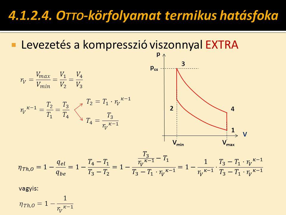  Levezetés a kompresszió viszonnyal EXTRA p cs V V min 1 2 V max 4 3 p vagyis: