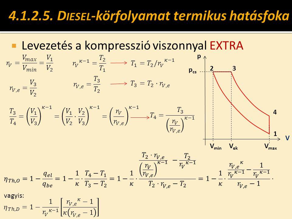  Levezetés a kompresszió viszonnyal EXTRA p cs V V min 1 2 V max 4 3 p V ek vagyis: