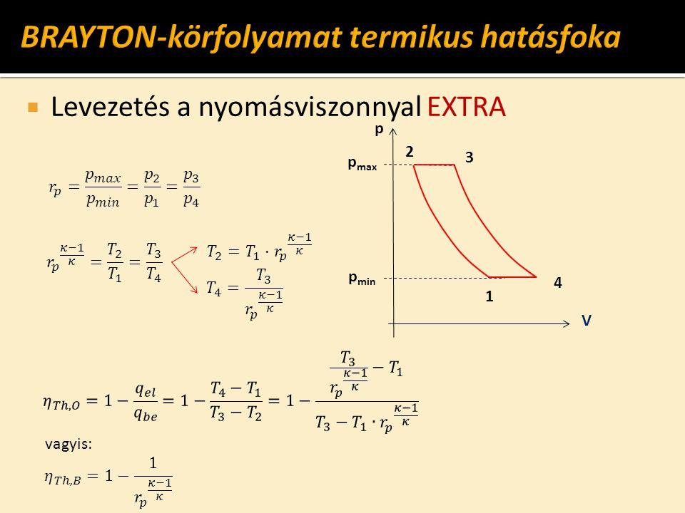  Levezetés a nyomásviszonnyal EXTRA p max V 1 2 4 3 p vagyis: p min