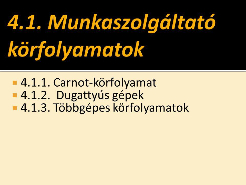 4.1.1. Carnot-körfolyamat  4.1.2. Dugattyús gépek  4.1.3. Többgépes körfolyamatok