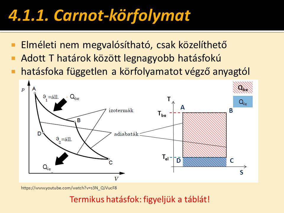  Elméleti nem megvalósítható, csak közelíthető  Adott T határok között legnagyobb hatásfokú  hatásfoka független a körfolyamatot végző anyagtól T S