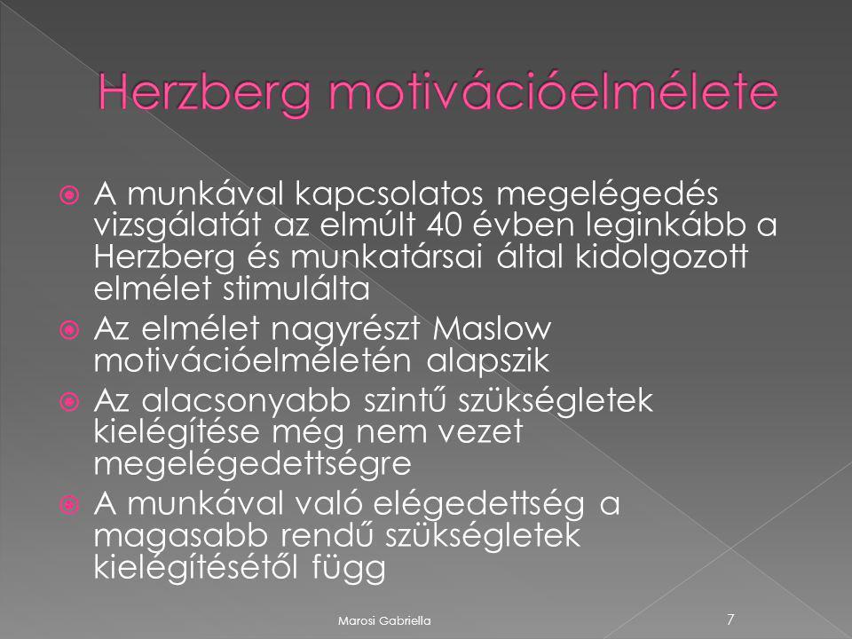  A munkával kapcsolatos megelégedés vizsgálatát az elmúlt 40 évben leginkább a Herzberg és munkatársai által kidolgozott elmélet stimulálta  Az elmélet nagyrészt Maslow motivációelméletén alapszik  Az alacsonyabb szintű szükségletek kielégítése még nem vezet megelégedettségre  A munkával való elégedettség a magasabb rendű szükségletek kielégítésétől függ Marosi Gabriella 7