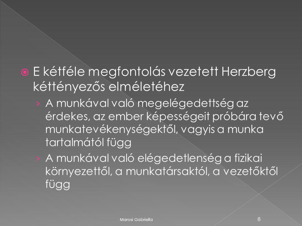  E kétféle megfontolás vezetett Herzberg kéttényezős elméletéhez › A munkával való megelégedettség az érdekes, az ember képességeit próbára tevő munkatevékenységektől, vagyis a munka tartalmától függ › A munkával való elégedetlenség a fizikai környezettől, a munkatársaktól, a vezetőktől függ Marosi Gabriella 8