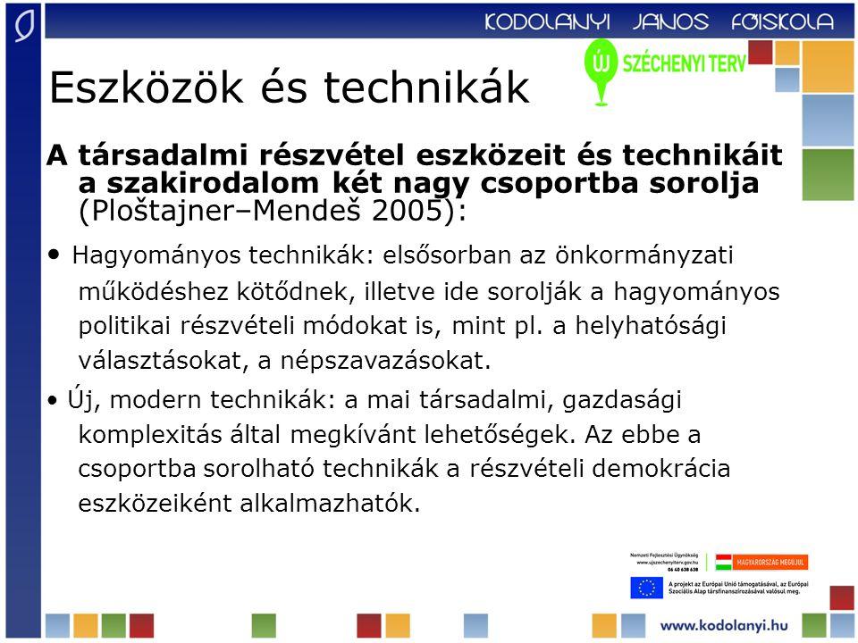 Eszközök és technikák A társadalmi részvétel eszközeit és technikáit a szakirodalom két nagy csoportba sorolja (Ploštajner–Mendeš 2005): Hagyományos technikák: elsősorban az önkormányzati működéshez kötődnek, illetve ide sorolják a hagyományos politikai részvételi módokat is, mint pl.