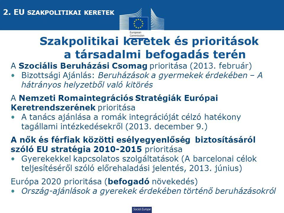 Social Europe Szakpolitikai keretek és prioritások a társadalmi befogadás terén A Szociális Beruházási Csomag prioritása (2013.